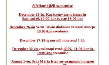 A Karácsonyi és újévi liturgia rendje
